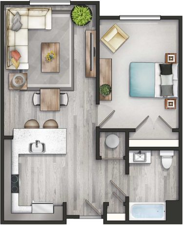 Apartment 1A-HC Floor Plan
