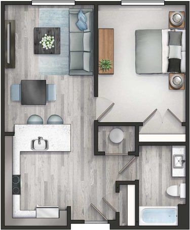 Apartment 1B Floor Plan