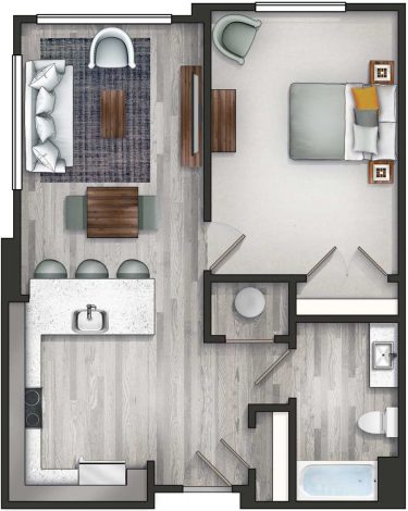 Apartment 1C . Floor Plan